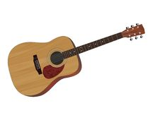 Guitar. Realistic vector illustration of acoustic guitar stock illustration