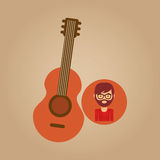 Guitar retro music hipster man Stock Photography