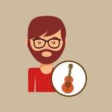 Guitar retro music hipster man Stock Photo