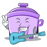With guitar rice cooker character cartoon Royalty Free Stock Photo