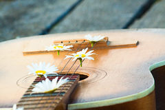Guitar on the river dock. Royalty Free Stock Images