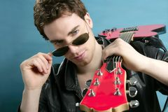 Guitar rock star man sunglasses leather jacket Royalty Free Stock Photo