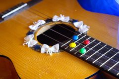 guitar romantic sweets chocolate song music Royalty Free Stock Photography