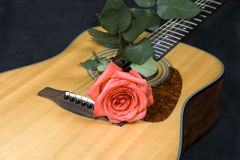 Guitar and rose Royalty Free Stock Photo