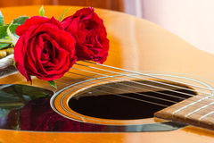 Guitar and rose Royalty Free Stock Photography