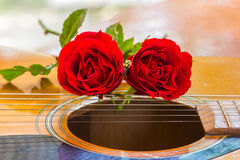 Guitar and rose Stock Image