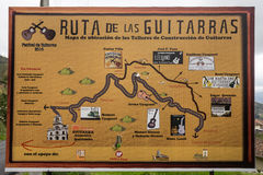 Guitar route sign in Ecuador. July 22,2016 San Bartolome, Ecuador: detailed roadside map of the guitar manufacturers route in Ecuador`s highlands royalty free stock images