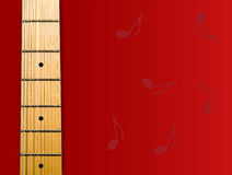 Guitar's neck. Over red background with notes - hi res 12,7 mpix Stock Photography