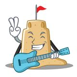 With guitar sandcastle character cartoon style Stock Photo