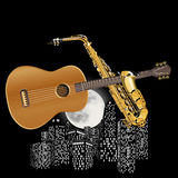 Guitar and saxophone on the background of city Royalty Free Stock Image