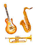 Guitar, saxophone and trumpet, watercolor Royalty Free Stock Photography