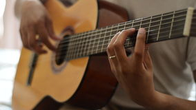 Guitar scales on classical guitar stock video