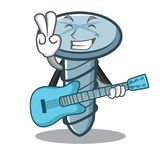 With guitar screw character cartoon style. Vector illustration Royalty Free Stock Photos