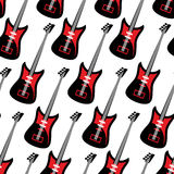 Guitar seamless pattern. Electric guitar repeating background. T. Exture of tools for rock music Royalty Free Stock Images