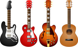 Guitar set 1. Illustration of 4 various electric and acoustic guitars Royalty Free Stock Photography