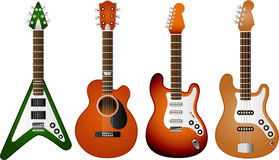 Guitar set 2. Illustration of 4 various electric and acoustic guitars To see the other Guitar sets, please check my portfolio Royalty Free Illustration
