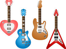 Guitar set 3. Illustration of 4 various electric and acoustic guitars To see the other Guitar sets, please check my portfolio Vector Illustration