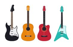 Guitar set, acoustic, classical, electric guitar, electro-acoustic. royalty free illustration
