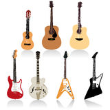 Guitar set vector art. Acoustic and Electric Guitars set vector Royalty Free Stock Image