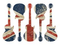 Guitar shaped grunge vintage UK Great Britain flag. Five guitars shaped old grunge vintage dirty faded shabby distressed UK Great Britain national flag isolated stock image