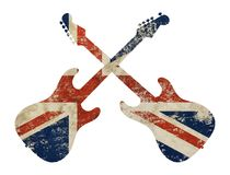 Guitar shaped grunge vintage UK Great Britain flag. Two crossed gguitars shaped old grunge vintage dirty faded shabby distressed UK Great Britain national flag stock photos
