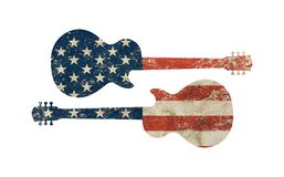 Guitar shaped old grunge vintage American US flag Stock Photography