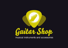 Guitar shop logo. Guitar in a plectrum shape. Guitar shop vector flat logo. Guitar`s headstock in a plectrum shape Stock Images