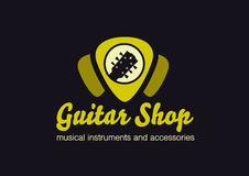 Guitar shop logo. Guitar in a plectrum shape. Guitar shop vector flat logo. Guitar`s headstock in a plectrum shape Royalty Free Stock Image