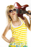 Guitar on shoulder Royalty Free Stock Photos