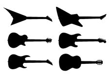 Guitar silhouettes. You can resize them and change their color Royalty Free Stock Image