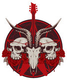Guitar and skull of goat and human Stock Images