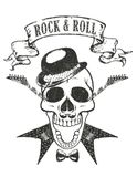 guitar and skull t-shirt print, `rock and roll`  typography royalty free illustration