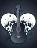 Guitar with skulls Royalty Free Stock Photos