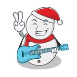 With guitar snowman character cartoon style Royalty Free Stock Image