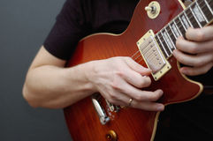 Guitar solo. On a Gibson Les Paul guitar stock photography