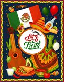 Guitar, sombrero, Mexican flag and fiesta food. Mexican fiesta sombrero, guitar and festive food vector design of Cinco de Mayo holiday celebration. Tequila stock illustration