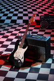 Guitar and sound amplifying equipment Royalty Free Stock Images