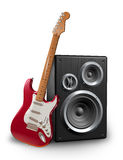 Guitar and speaker Royalty Free Stock Photos