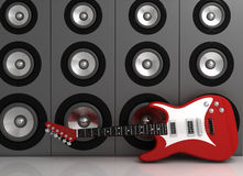Guitar and speakers. Electric guitar and speakers - rendered in 3d Stock Photo