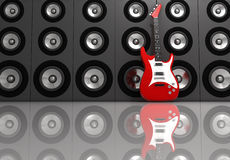 Guitar and speakers. Electric guitar and speakers - rendered in 3d Stock Photography