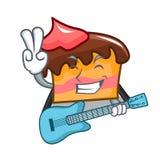 With guitar sponge cake mascot cartoon. Vector illustration Stock Photo