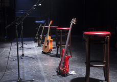 Guitar  on stage before concert Royalty Free Stock Photography
