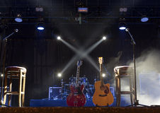 Guitar  on stage before concert Royalty Free Stock Image