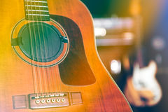 Guitar on stage. Expect artists before the concert royalty free stock images