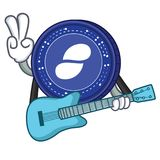 With guitar Status coin mascot cartoon. Vector illustration Royalty Free Stock Photos