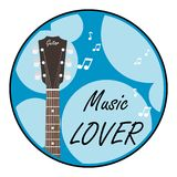 Guitar sticker music lover melody flat vector. N Royalty Free Stock Photos