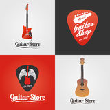 Guitar store, music shop collection of vector icon, symbol, emblem, logo Royalty Free Stock Image