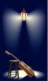 Guitar in the street lantern. JPG and Vector illustration eps08. Guitar in the spotlight street lantern stock illustration
