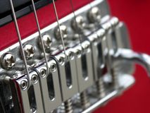 Guitar Strings. Close up of guitar strings on an electric guitar Royalty Free Stock Photography