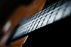 Guitar strings. Close-up of classical guitar strings, very shallow DOF Stock Photography